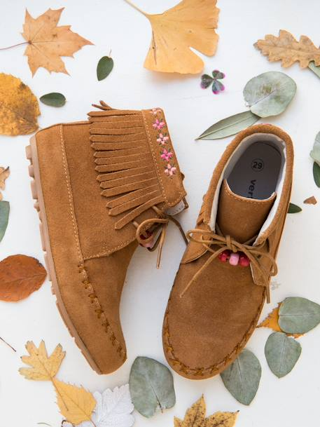 Bottines cuir fille broderies et franges CAMEL+Marron+NOIR 17 - vertbaudet enfant