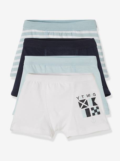 Lot de 4 boxers stretch garçon Navy Lot bleu 2 - vertbaudet enfant