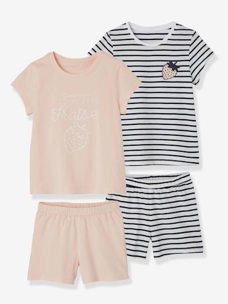 Lot de 2 pyjashorts fille combinables LOT ROSE PALE 1 - vertbaudet enfant