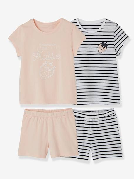 Lot de 2 pyjashorts fille combinables LOT ROSE PALE 2 - vertbaudet enfant