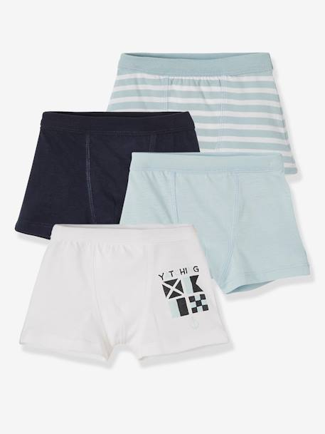 Lot de 4 boxers stretch garçon Navy Lot bleu 1 - vertbaudet enfant