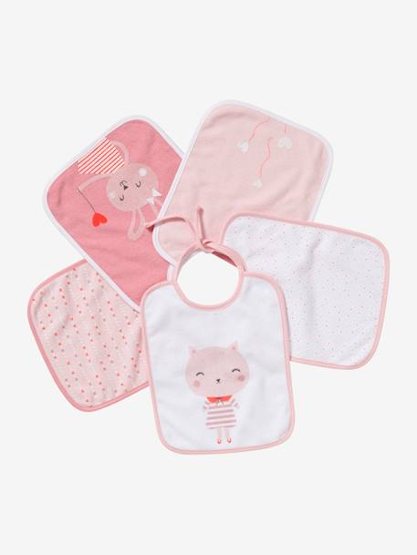 Lot de 5 bavoirs bébé Lot bleu voitures+Lot fruits et legumes+Lot rose animaux 16 - vertbaudet enfant