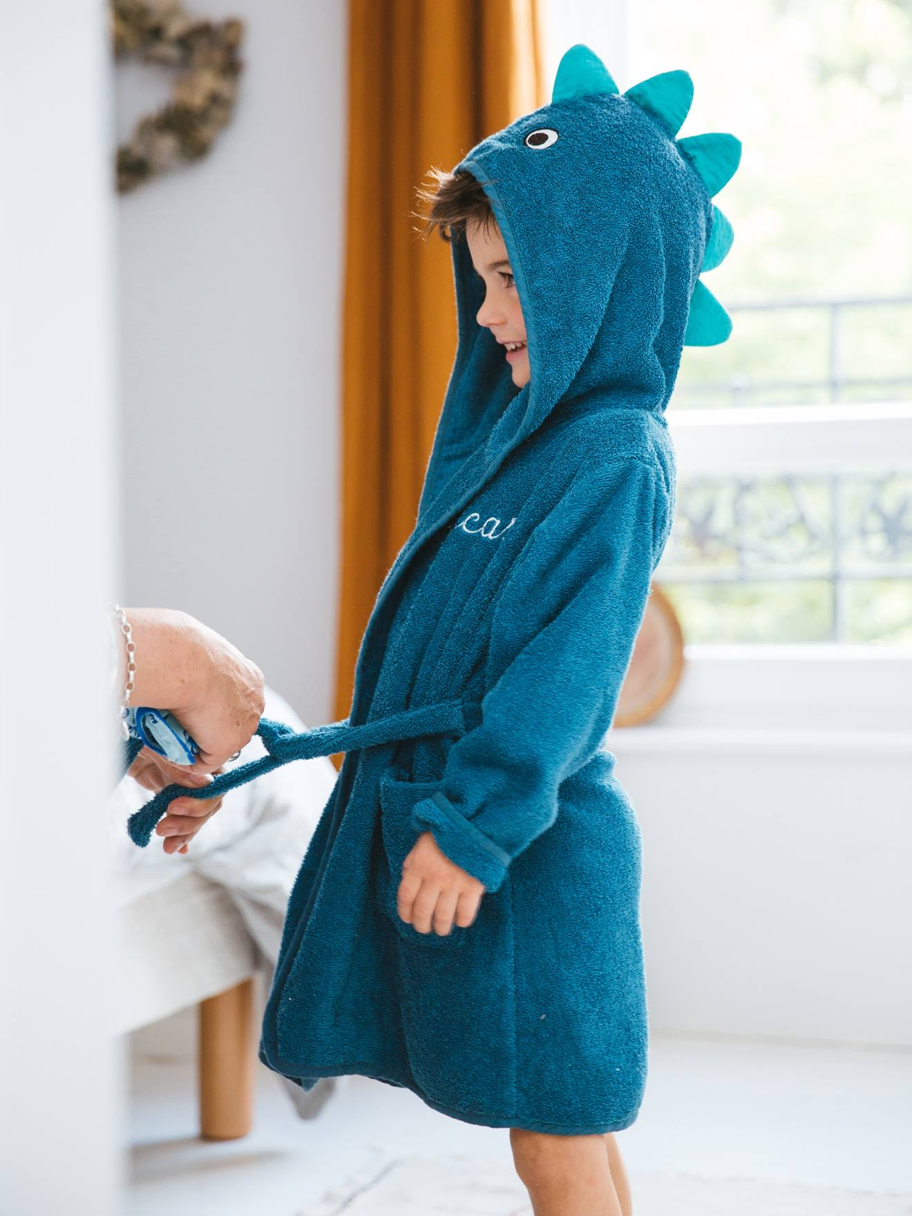 Bleu /à motif nounour ourson reine /à la mode-Peignoir de bain /à capuche pour b/éb/é
