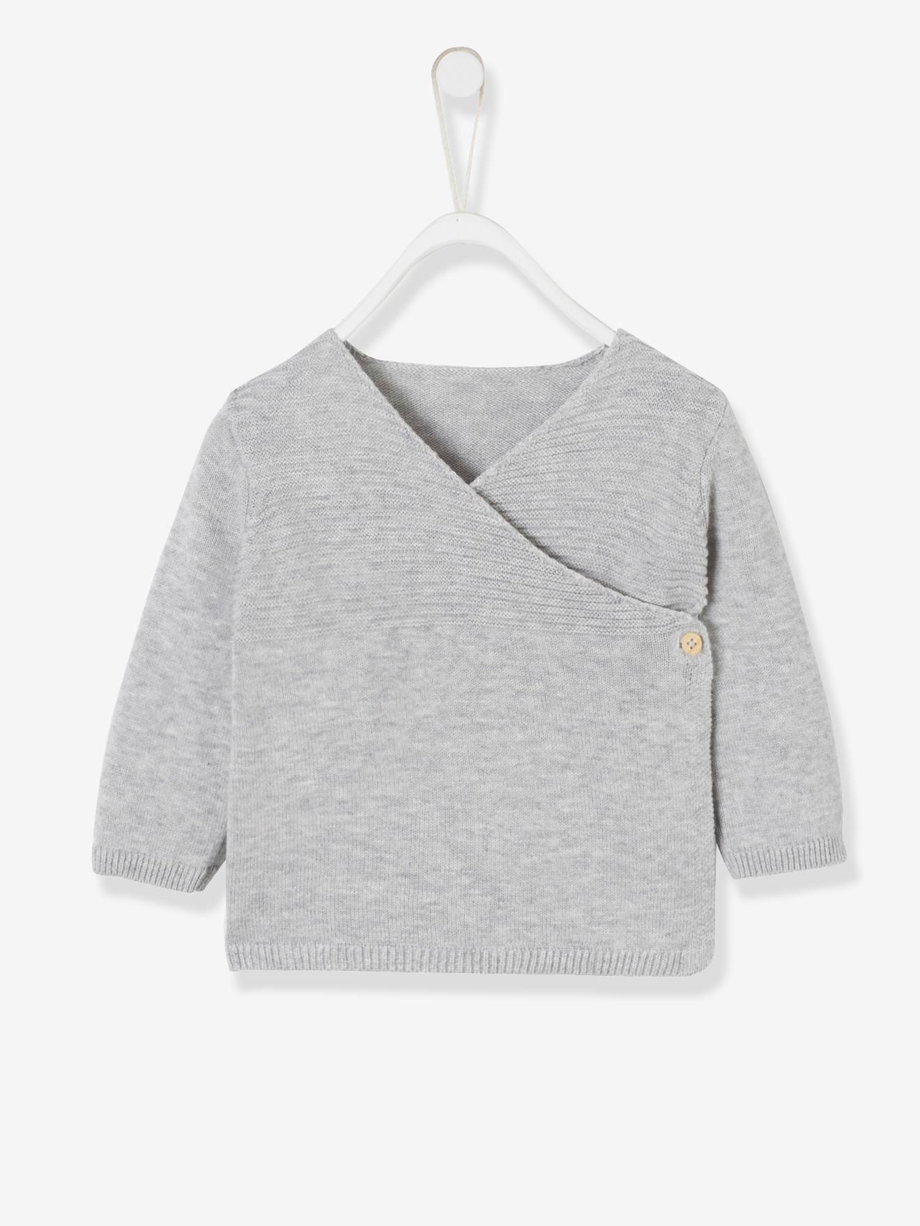 Brassière bébé naissance en tricot de coton bio gris chiné