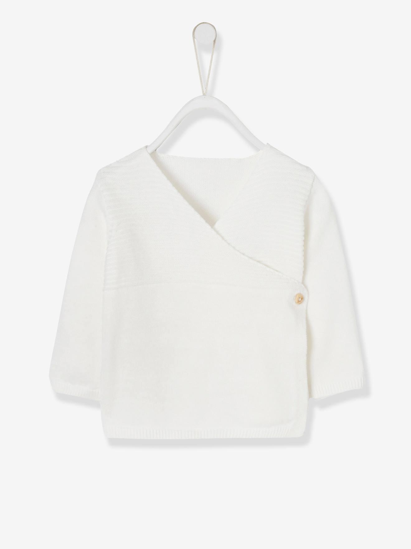 Brassière bébé naissance en tricot de coton bio écru