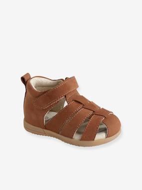 Sandales cuir bébé garçon premiers pas cognac