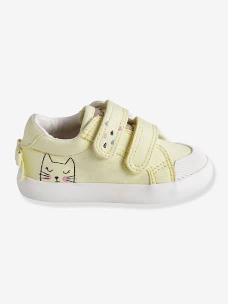 Tennis scratchées bébé fille en toile DENIM A POIS+LIGHT GREEN+LIGHT YELLOW 14 - vertbaudet enfant
