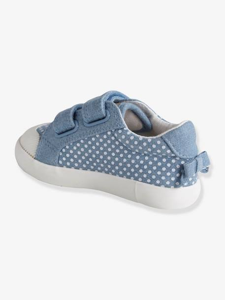 Tennis scratchées bébé fille en toile DENIM A POIS+LIGHT GREEN+LIGHT YELLOW 3 - vertbaudet enfant