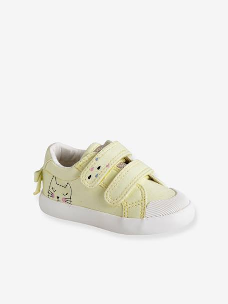 Tennis scratchées bébé fille en toile DENIM A POIS+LIGHT GREEN+LIGHT YELLOW 13 - vertbaudet enfant