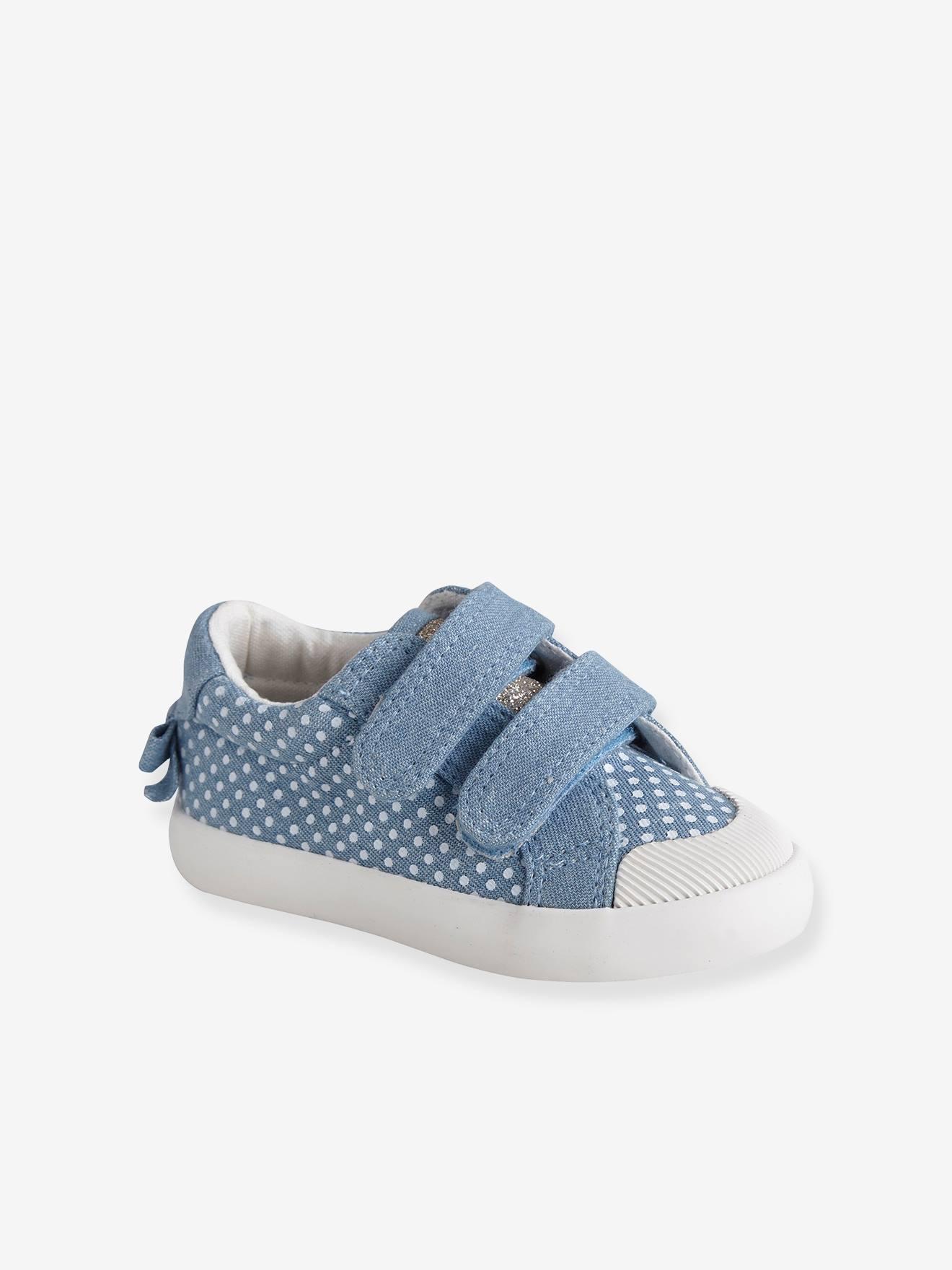 Baskets scratchées bébé fille en toile blanc Vertbaudet