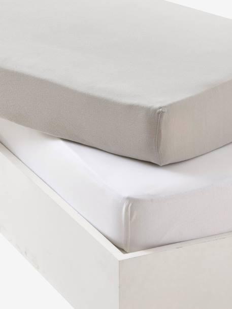 Lot De 2 Draps Housses Bebe En Jersey Extensible Gris Blanc