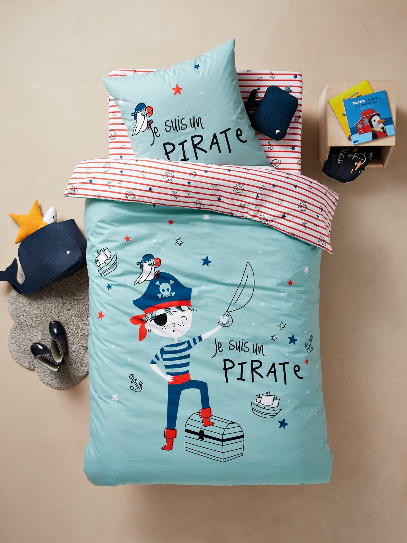 Chambre Pirate Maison Du Monde pack housse de couette + taie d'oreiller enfant a l'abordage ! bleu -  vertbaudet