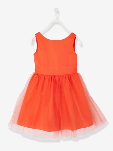 833e2b2188185 Robe de cérémonie fille en satin et tulle BLANC+ORANGE+ROSE CLAIR 7 -