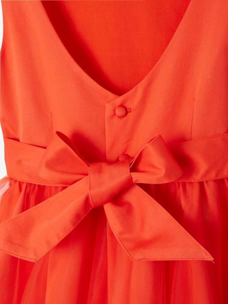 e42b94669a523 Robe de cérémonie fille en satin et tulle BLANC+ORANGE+ROSE CLAIR 8 -