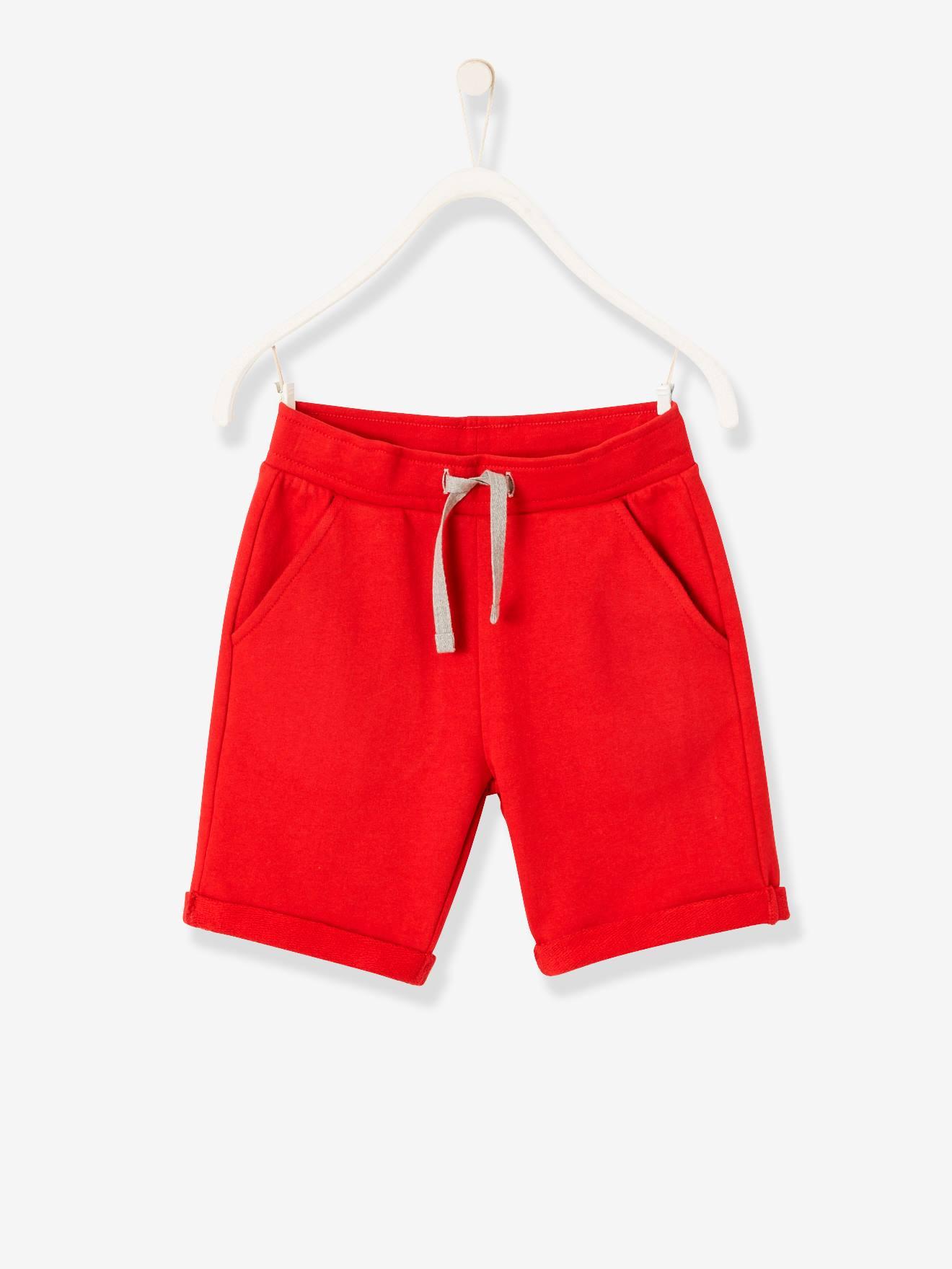 Bermuda garçon en molleton rouge - Vertbaudet