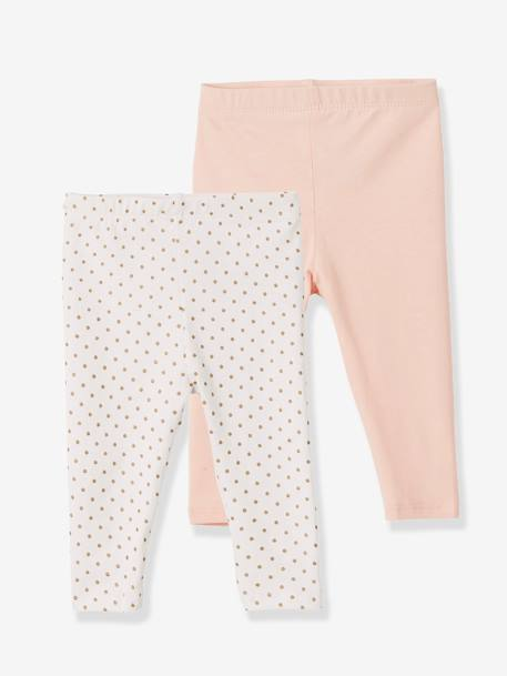 Lot de 2 leggings longs bébé fille LOT ANTHRACITE + POIS+LOT FRAMBOISE + POIS+LOT IVOIRE+Lot marine grisé+Lot noir+LOT NOIR+POIS+Lot rose+LOT ROSE PALE 29 - vertbaudet enfant
