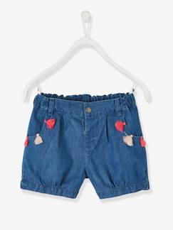 Collection maternelle-Fille-Short jean fille à pompons forme boule