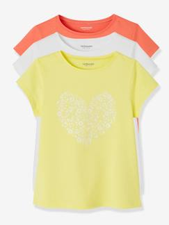 Fille-T-shirt, sous-pull-Lot de 3 T-shirts fille manches courtes