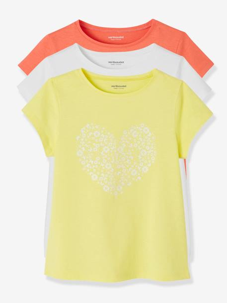 Lot de 3 T-shirts fille manches courtes JAUNE PALE+LOT BLEU PALE+LOT ROSE PALE 2 - vertbaudet enfant