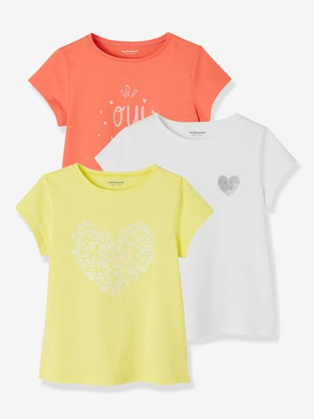 Lot de 3 T-shirts fille manches courtes JAUNE PALE+LOT BLEU PALE+LOT ROSE PALE 1 - vertbaudet enfant