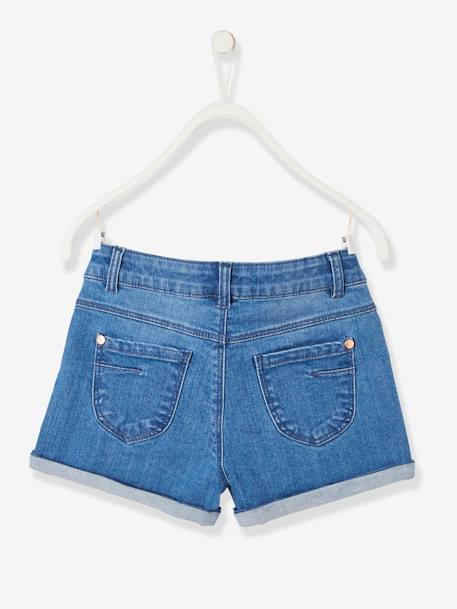 Short en jean fille avec badges sequins STONE 2 - vertbaudet enfant