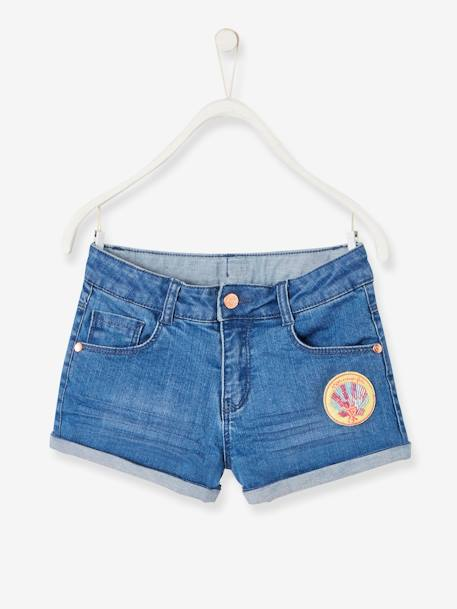 Short en jean fille avec badges sequins STONE 1 - vertbaudet enfant