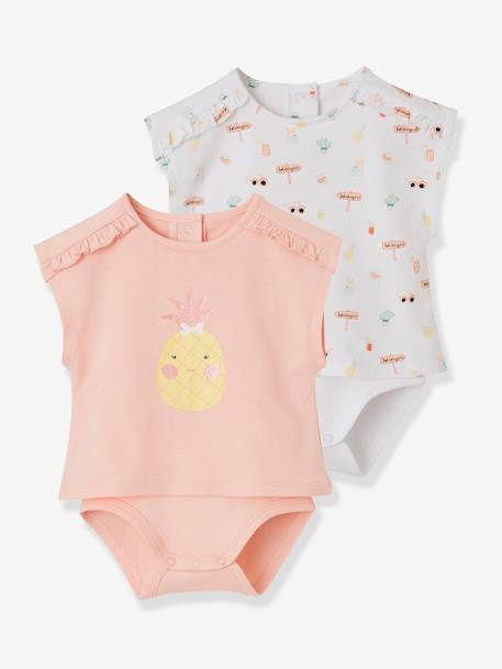 befb4f9218415 Lot de 2 T-shirts bodies bébé fille assortis lot blanc - Vertbaudet