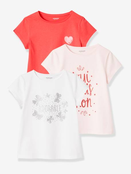 Lot de 3 T-shirts fille manches courtes JAUNE PALE+LOT BLEU PALE+LOT ROSE PALE 26 - vertbaudet enfant