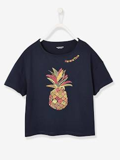 Fille-T-shirt, sous-pull-T-shirt fille broderie ananas