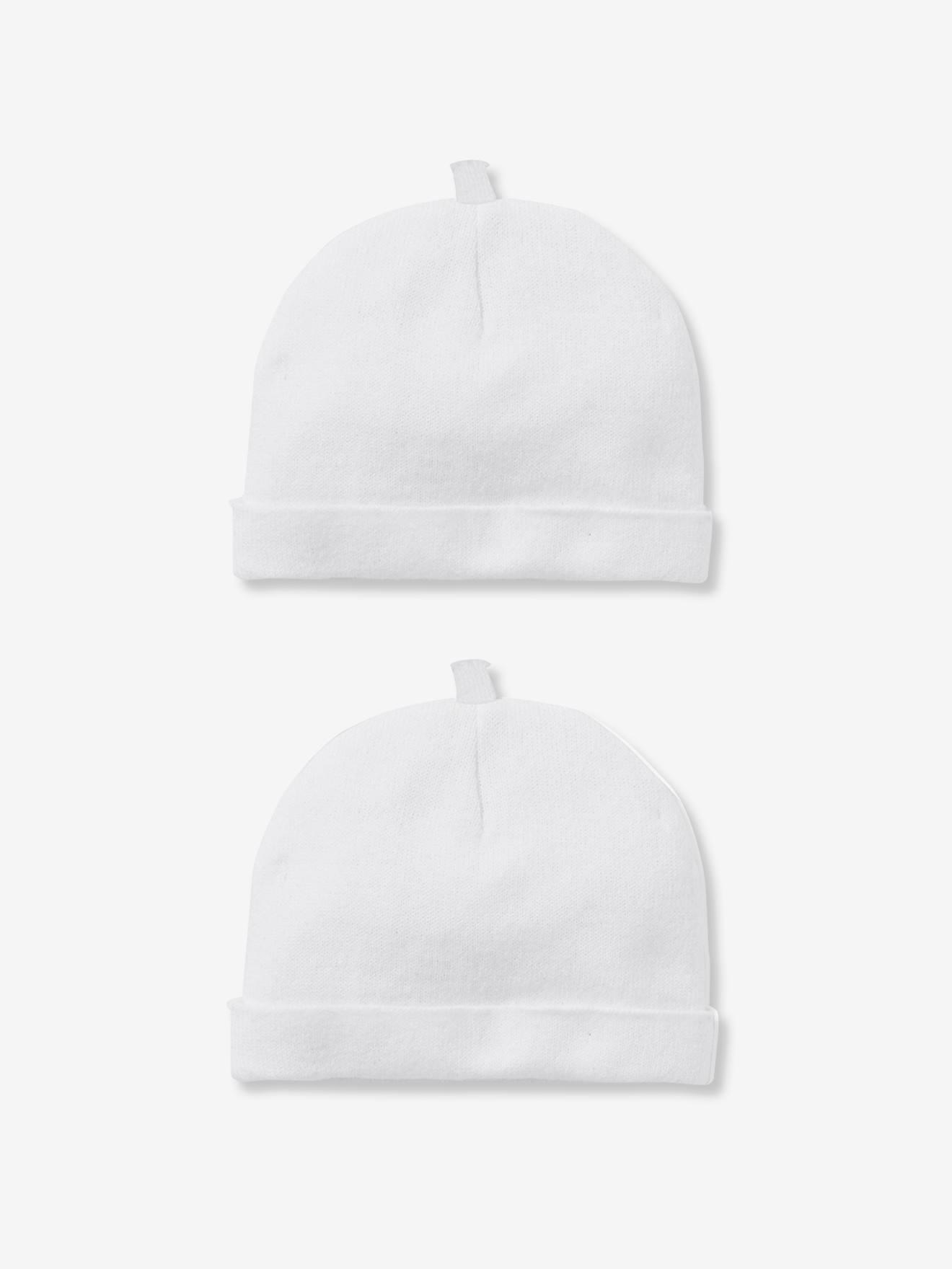 9ec686725de Lot de 2 bonnets bébé spécial maternité en coton bio lot blanc - Vertbaudet