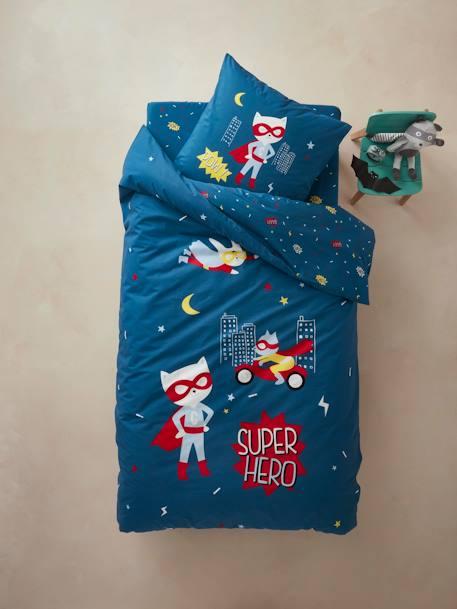f4d23d5ef9803 Parure housse de couette + taie d oreiller enfant SUPERCHAT Bleu imprimé 1  - vertbaudet