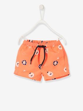 Maillot de bain short bébé imprime orange fluo vertbaudet