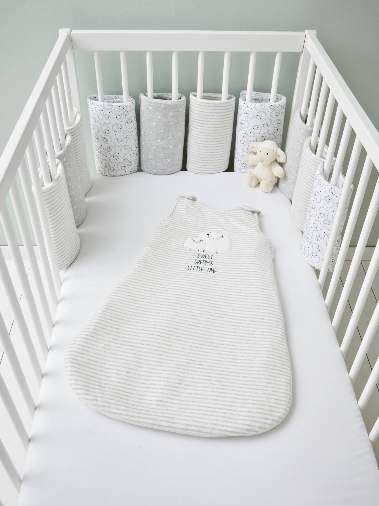 Tour de lit respirant Moutons rêveurs blanc/