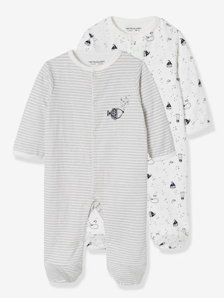 3c1c6a6e92306 Lot de 2 pyjamas bébé en coton double face motif poissons LOT ANTHRACITE 1  - vertbaudet