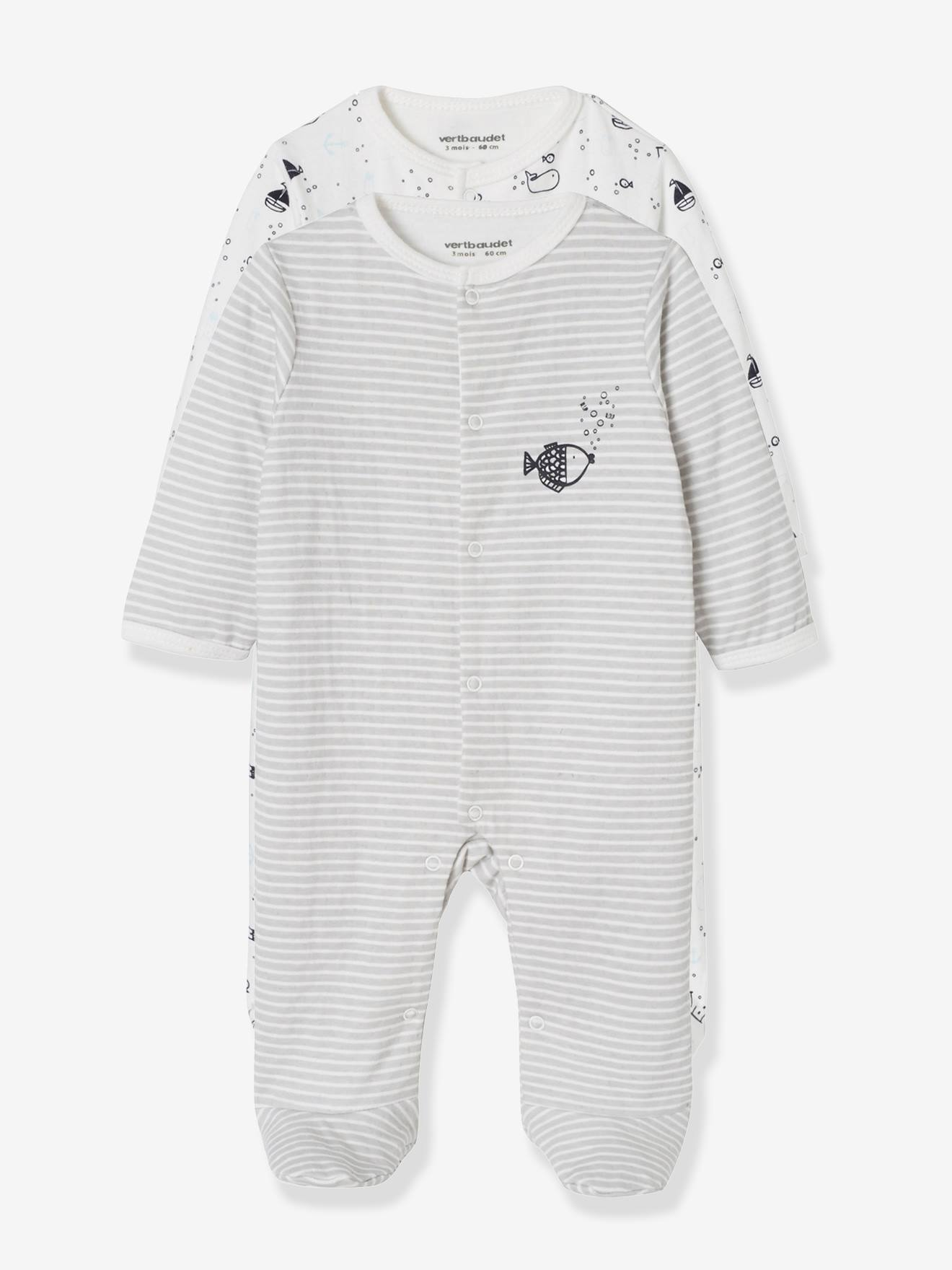 c7312f765f766 Lot de 2 pyjamas bébé en coton double face motif poissons lot anthracite -  Vertbaudet