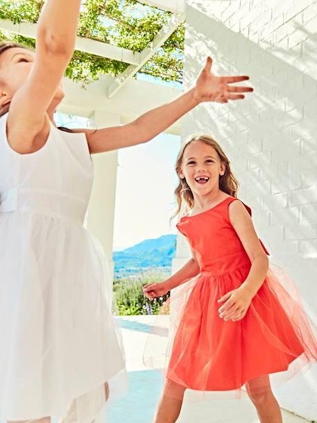 ab92fcfb4836c Robe de cérémonie fille en satin et tulle BLANC+ORANGE+ROSE CLAIR 11 -