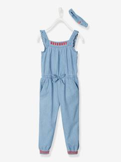 Collection maternelle-Fille-Combinaison à volants fille en denim léger bandeau assorti