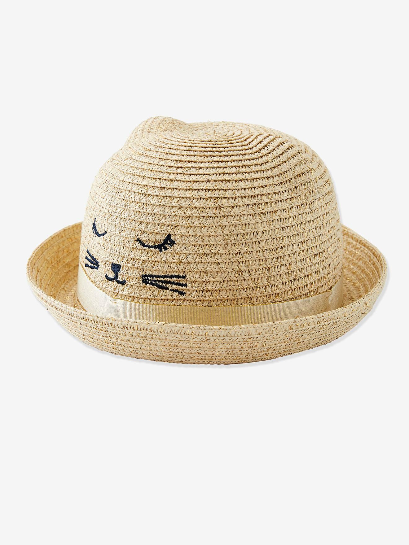 Chapeau de soleil fille irisé broderie chat et oreilles fantaisie naturel irisé Vertbaudet