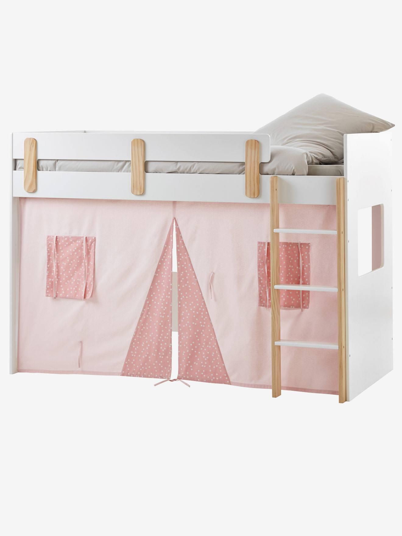 Tente pour lit mezzanine mi-hauteur LIGNE EVEREST rose/imprimé ...
