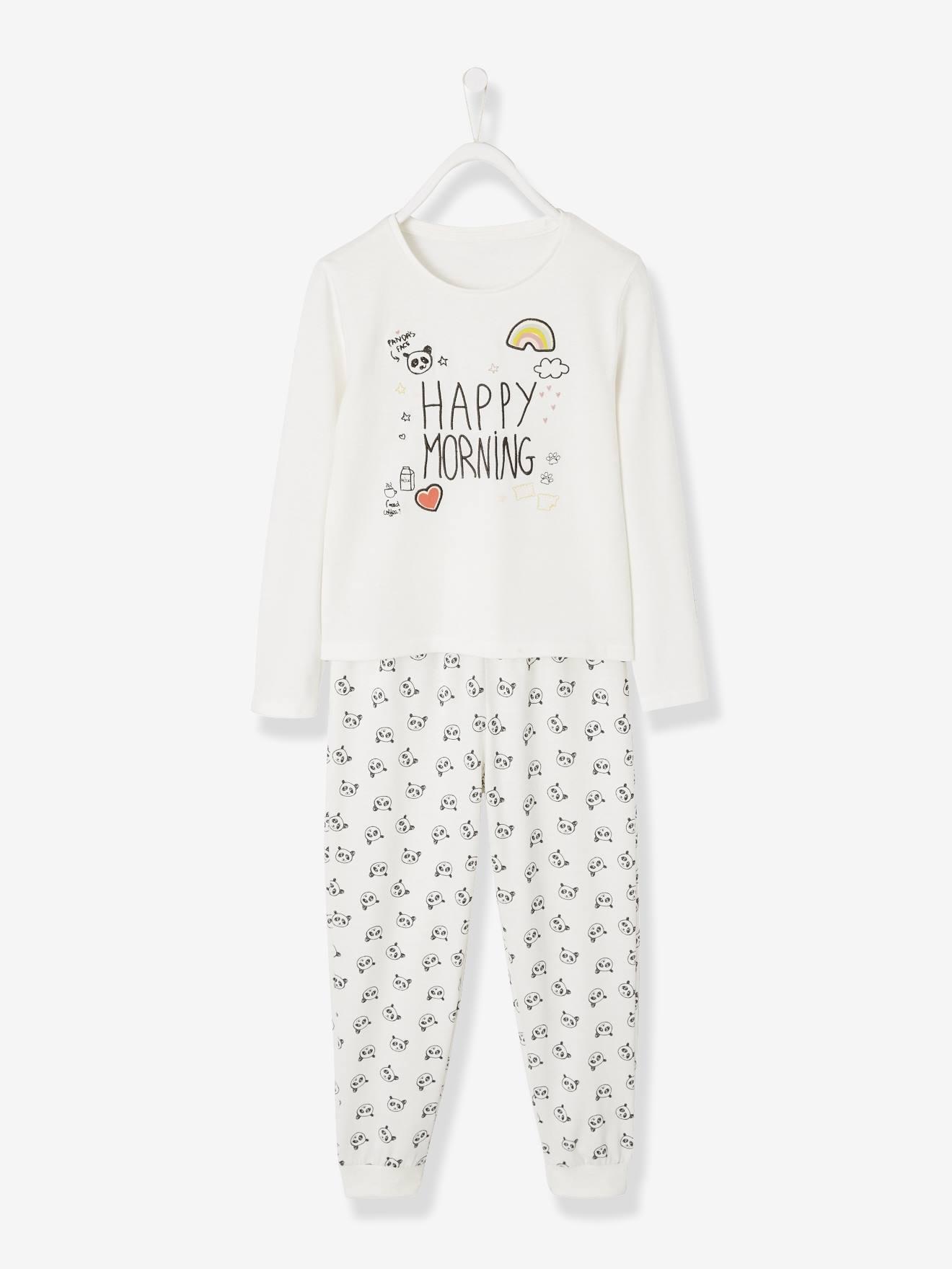 Pyjama fille en coton jersey ivoire Vertbaudet