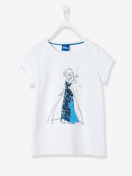 c332e0480c462 T-shirt fille Reine des neiges® à sequins réversibles Blanc 1 - vertbaudet  enfant ...