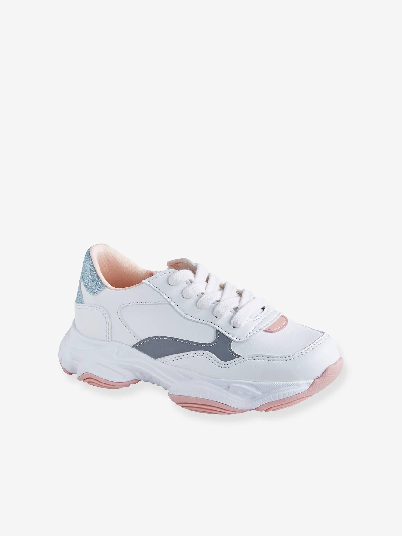 Baskets lacées et zippées fille esprit running blanc