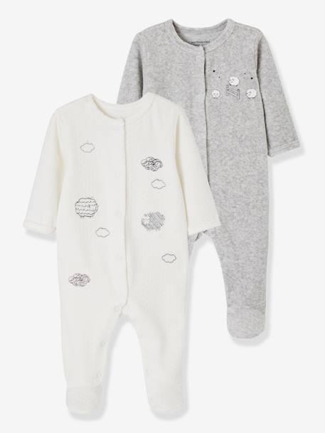 lot de 2 pyjamas bebe en velours ouverture devant nuage