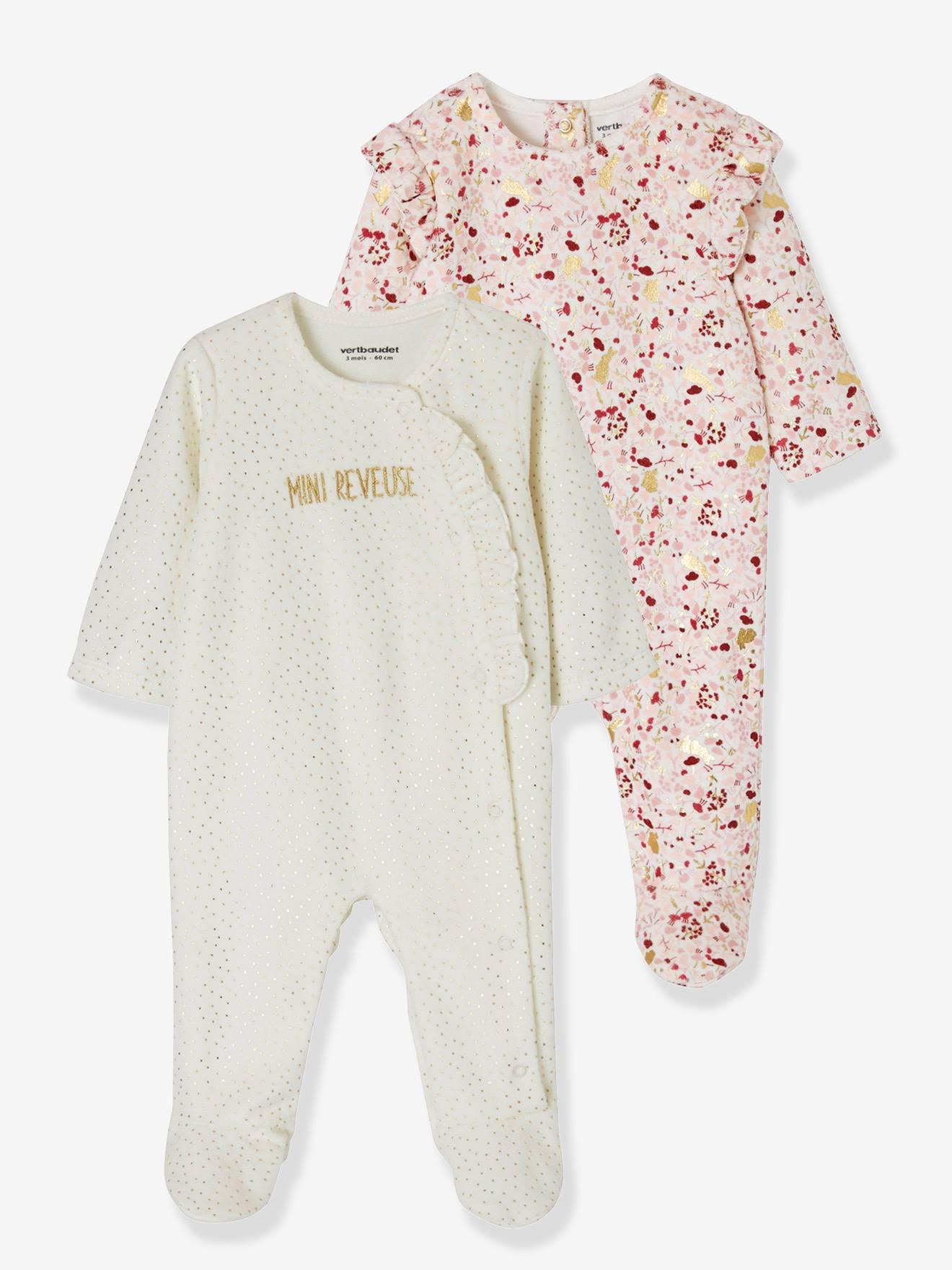 86CM VERTBAUDET Lot de 2 pyjamas b/éb/é en molleton Lot ivoire 24M